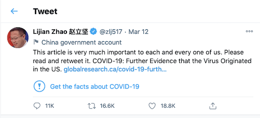 In March, a COVID-19 conspiracy theory from a Canadian website was posted on Twitter by the spokesperson for China's Foreign Ministry.