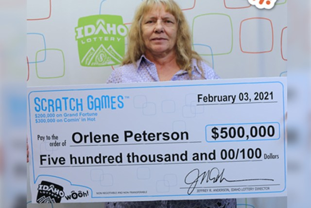 Orlene Peterson poses for a photo to celebrate her winnings in the Idaho Lottery on Feb. 3, 2021.