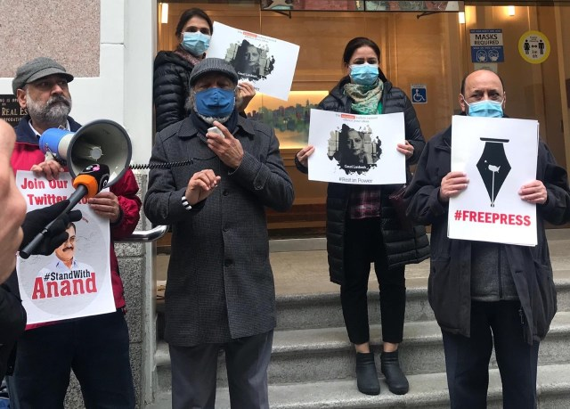 Members of the Punjabi Press Club of B.C. gather outside the Indian consulate in Vancouver on Monday, Feb. 8, 2021. Courtesy: Punjabi Press Club of B.C.