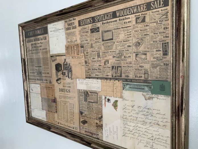 As the Stovel Block building was being renovated, newspaper clippings and letters dating back to the 1930s were discovered between the floorboards and are now displayed inside the building.