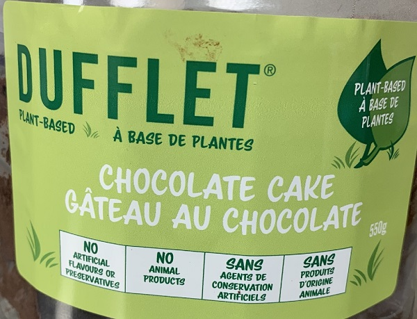 Dufflet's Chocolate Cake labelling.