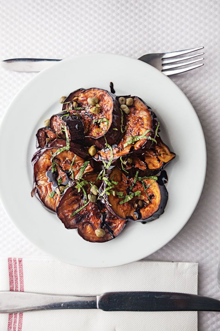 Creamy, mild eggplant pairs with briny capers, floral basil, and a drizzle of balsamic reduction for a knockout appetizer or side dish. Get the recipe for Pan-Fried Eggplant with Balsamic, Basil, and Capers