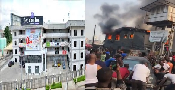 Tejuosho Market catch fire, destroyed properties, 2 injured in Yaba, Lagos (Video)