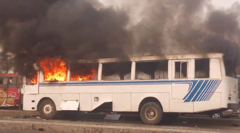 BREAKING: Commercial Bus Guts Fire at Iyana-Ipaja Lagos (Photos)