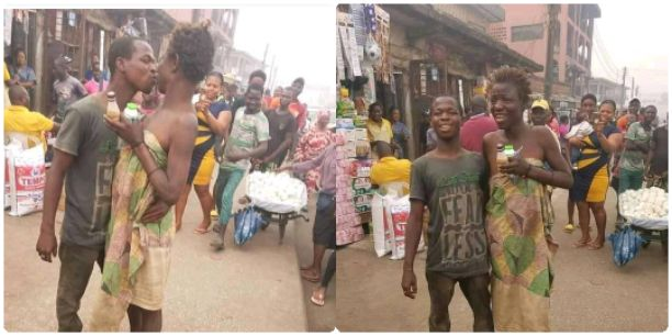Man kisses mad woman at market square, People says it's Valentine mood (Photos)
