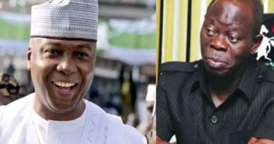 Saraki challenges Oshiomhole that his masquerade will dance naked in the market one day (Video)