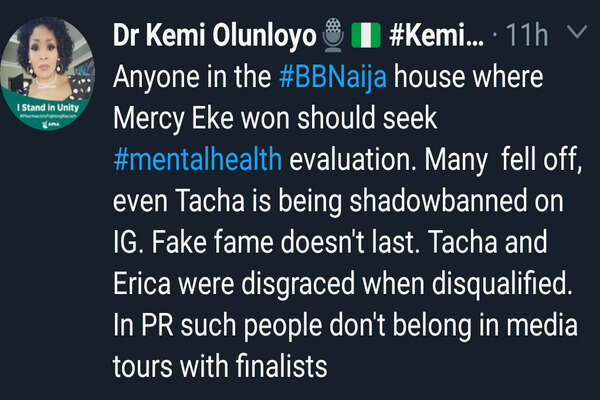 All BBNaija 2019 housemates should seek mental health, Tacha and Erica were disgraced - Kemi Olunloyo