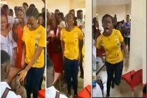 Viral video of a young Lady who runs mad after agrees to a marriage proposal on Valentine day
