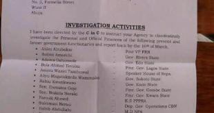 A list containing names of APC members for investigation