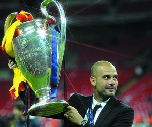 Pep Guardiola lifting the Champions League as Barcelona coach