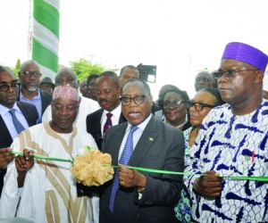 L-R: Executive Director, Nigerian Export Promotion Council (NEPC), Mr. Segun Awolowo; Chairman, Chairman House Committee on Industries, Hon. Mohammed Onawo; Minister of Industry, Trade and Investment, Dr. Olusegun Aganga and Director General, Standard Organisation of Nigeria (SON), Dr. Joseph Odumodu, during the commissioning of SON Food Technology Labs in Lekki, Lagos on Tuesday