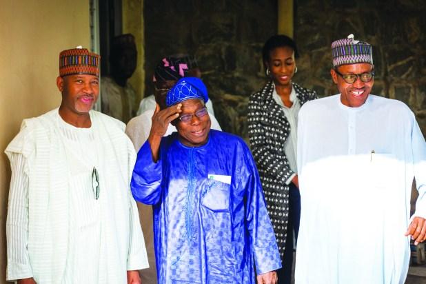 R-L President-elect General Muhammadu Buhari, former President Olusegun Obasanjo and Senator Hadi Seriki during  a visit of the former President to the President-elect in Kaduna on Monday, 20 April 2015