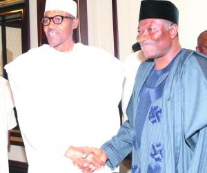 R-L; President GoodLUCK  Jonathan, President Elect General Muhammadu at the Presidential villa in Abuja. Friday