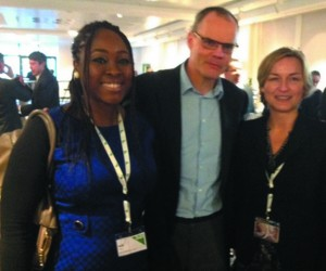 L-R - Area Public Relations Manager Starwood Hotels in Nigeria-Nanji Tyem and President & CEO Starwood Hotels and Resorts World Wide-Frits- Van Paasschen, Vice President of Communications-Starwood Divisional Office during the Roundtables Conference in Sheraton Frankfurt Hotel  recently.