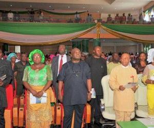 Abia state Governor, Theodore Orji (2nd right) flanked on the right by his wife Mercy Orji and from the 1st left by the speaker Abia state House of Assembly and deputy governor elect Rt. Hon Ude Okochukwu, Mrs Nkechi Ikpeazu wife of the governor elect and Dr. Okezie Ikpeazu governor elect during the valedictory thanksgiving service at the new Int'l Conference Centre in Umuahia. Photo Ibeabuchi Abarikwu