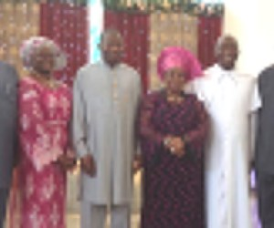 First Lady, Mrs Patience Jonathan flanked by husband and President, Goodluck Jonathan, former governors Peter Obi, and Diepriye Alamieseiya and vicar of the chapel during the Thanksgiving Service
