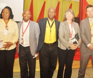 Safety and Environment Manager, Shell Nigeria Exploration and Production Company (SNEPCo), Mrs. Elizabeth Usen; Regional Occupational Manager, Dr. Olusola Taiwo; Managing Director of SNEPCo, Mr. Tony Attah; Shell's Associate General Counsel for Nigeria and Gabon, Mrs. Barbara Blum; and SNEPCo's Finance Director, Mr. Ralph Wetzels, at the 2015 Shell Safety Day held in Lagos... on Wednesday.
