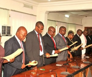 Cross section of Newly appointed Permanent > Secretaries taking their oath of office during their > swearing-in by Gov Theodore Orji of Abia state in > Umuahia.