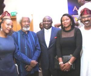 Nobel Laureate Prof Wole Soyinka, Lagos Governor-elect Akinwunmi Ambode and Senator Olurunnimbe Mamora at the official launch and presentation of Governor Chibuike Amaechi's book