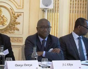 Afreximbank President Jean-Louis Ekra, flanked by Denys Denya, Executive Vice President, Finance, Administration and Banking Services, and Dr. George Elombi, Executive Vice President, Corporate Governance and Legal Services/Executive Secretary, during the update meeting with the Bank's relationship banks in London.