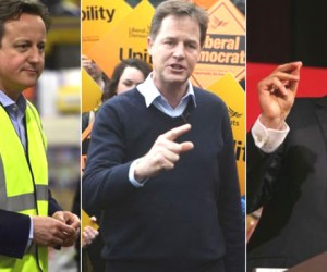 Incumbent Prime Minister David Cameron of the Conservatives Party, Labour Party's Ed Miliband , Nick Clegg of the Lib Dems