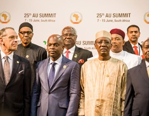 President Muhammadu Buhari and other African Heads of States as they await the group photo at the opening of the 25th AU Summit in Johannesburg South Africa, June 14,  2015