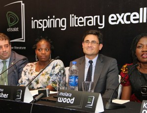 (L-R): Chief Marketing Officer, Etisalat Nigeria, Francesco Angelone; one of the Judges of 2015 Etisalat Prize for Literature, Zukiswa Wanner; Chief Executive Officer, Etisalat Nigeria, Matthew Willsher and one of the Judges of 2015 Etisalat Prize for Literature, Molara Wood, at the 2015 Etisalat Prize for Literature press conference, held in Lagos today (Thursday).