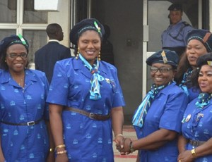 Wife of the governor of Anambra State, Chief (Mrs.) Ebelechukwu Obiano in handshake with State Commissioner, Nigerian Girl Guides Association, Mrs. Uche Orakwute, Chairman, Post Primary Schools Service Commission, Lady Joy Ulasi (First left), and Assistant Commissioner, Barrister Helen Obi (Extreme Right) at the Investiture and Enrollment of Mrs. Obiano as State Patron today in Awka, Anambra State.