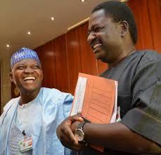 Femi Adesina (R) and Garba Shehu, President Muhammadu Buhari's Media Advisers
