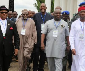 (L-R) Chief Willie Obiano, Governor of Anambra State, Dr. Okezie Ikpeazu, Governor of Abia State and Senator  Ifeanyi Okowa, Governor of Delta State during the South East/Delta States' Security Conference at the Governor's Lodge, Amawbia ...Saturday