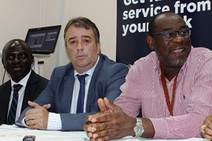 (L-R) Executive Director, Technology and Operation, Nigeria Inter-Bank Settlement System Plc (NIBSS), Niyi Ajao; Chief Marketing Officer, Etisalat Nigeria, Francesco Angelone and Managing Director, Nigeria Inter-Bank Settlement System Plc (NIBSS), Ade Shonubi during the press conference to announce the partnership between NIBSS and telecommunications service providers on USSD-BVN Query service in Lagos on Thursday, September 10, 2015.