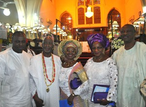 (From left): Former House of Representatives Speaker, Honourable Oladimeji Bankole, OPC Founder Dr. Frederick Fasehun, his wife Iyabo, former Minister of State for Defence Mrs. Modupe Adelaja, and PDP Governorship Candidate for Lagos State Mr. Jimi Agbaje, at Saint Peter's Anglican Church, Ajele Street, Faji, Lagos Island, during a Thanksgiving/Communion Service marking his 80th birthday, today, September 21, 2015