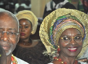 OPC Founder Dr. Frederick Fasehun and his wife, Iyabo, at Saint Peter's Anglican Church, Ajele Street, Faji, Lagos Island, during a Thanksgiving/Communion Service marking his 80th birthday, today, September 21, 2015