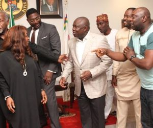 Lagos State Governor, Mr. Akinwunmi Ambode (3rd right), Popular Nollywood Actress, Bimbo Akintola, Veteran Hollywood Film Producer, Mr. Danny Glover, Deji Williams, an Actor & member of the Lagos State House of Assembly, Hon. Desmond Elliot and Popular Nollywood Actor, Segun Arinze during a courtesy visit to the Governor by the Cast and Crew of the film 93Days, at the Lagos House, Ikeja, on Wednesday, September 23, 2015.