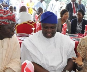 Lagos State Governor, Mr. Akinwunmi Ambode (middle) with his wife, Bolanle and his Chief of Staff, Mr. Olukunle Ojo during the Eid-el-Kabir Celebration organized by the Ministry of Home Affairs at the Lagos House, Ikeja, on Thursday, September 24, 2015.