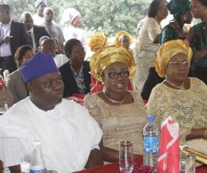 Lagos State Governor, Mr. Akinwunmi Ambode (2nd left), Chief of Staff, Mr. Olukunle Ojo, First Lady of Lagos State, Mrs. Bolanle Ambode, Mrs. Aderonke Ojo and All Progressives Congress National Women Leader, South West, Chief (Mrs.) Kemi Nelson during the Eid-el-Kabir.