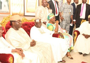 (R-L): Lagos State Governor, Mr. Akinwunmi Ambode with First Daughter of deceased, Mrs. Omotola Oyediran, National Leader, All Progressives Congress (APC), Asiwaju Bola Tinubu, former Governor of Ekiti State, Dr. Kayode Fayemi and first civilian Governor of Lagos State, Alhaji Lateef Jakande during the Governor's condolence visit to the Family of Late Hannah Idowu Dideolu Awolowo at their Ikenne residence in Ogun State, on Sunday, September 20, 2015.