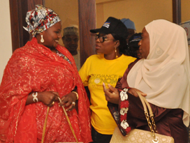 Chairman, Committee of Wives of Lagos State Officials (COWLSO), Mrs. Bolanle Ambode (middle) flanked by Wives of Kebbi & Niger States Governors; Hajia Zainab Bagudu (left) and Hajia Aminat Abubakar Sanni Bello during the opening ceremony of the annual National Women Conference organized by COWLSO, at the Convention Centre, Eko Hotels & Suite on Wednesday, September 16, 2015.
