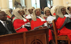 Lagos State Governor, Mr. Akinwunmi Ambode (left) with the State Chief Judge, Justice Olufunmilayo Atilade (right) and other Judges in the State, during the 2015/2016 Legal Year Service at the Cathedral Church of Christ, Marina, on Monday, September 28, 2015.