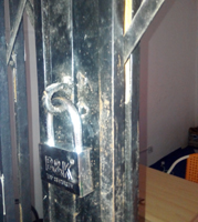 Broken lock to the office of the media firm