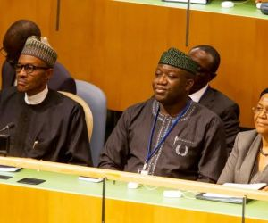 (L-R) President Muhammodu Buhari, Dr Kayode Fayemi and Prof Joy Ogwu at United Nations General Assembly...on Friday