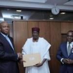 Senate President, Saraki, receives President Buhari's list of ministerial nominees; Onu, Amaechi, Fashola, Fayemi, Ngige make it
