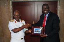 Acting Director General of NIMASA, Mr. Haruna Baba Jauro with the Chief of the Naval Staff, Vice Admiral Ibok-Ete Ibas at the Naval Head Quarters Abuja.