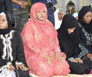 Wife of  President Muhammadu Buhari, Mrs. Amina Buhari with her daughters and women muslim faithful during  EID EL- KABIR prayer at An – Nur mosque in Abuja on Thursday, 24/9/15.