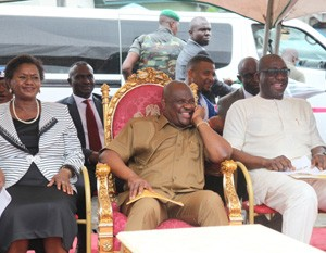 Gov. Nyesom Ezenwo Wike of Rivers State (middle) Deputy Gov. Dr. Ipalibo Banigo (left) and sole Administrator Environmental Bro. Felix Obuah (right)  during the commissioning of the Iloabuchi/Eagle Island Link Road in Port Harcourt.