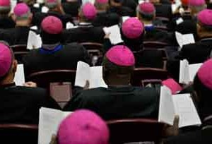 Bishops attend the second morning session of the Synod on the Family at the Vatican on October 6, 2015