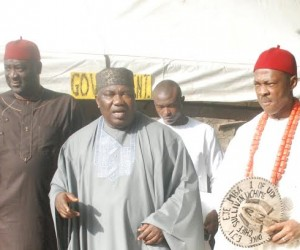 Governor Ifeanyi Ugwuanyi of Enugu State (centre) his predecessor, Chief Sullivan Chime (right); and the Speaker of Enugu State House of Assembly, Hon. Edward Ubosi, on the occasion of the conferment of Chieftaincy title of Chief Chime at Udi