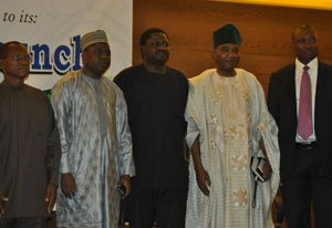 (L-R) Director General Debt Management Office(DMO), Dr Abraham Nwankwo, Member, House of Representatives Hon. Abdulrasaq  Namdas ,Special Adviser to the President (Media and Publicity), Mr. Femi Adesina, former Chairman, Punch Nigeria Limited, Chief Ajibola Ogunshola and President, Guild of  Corporate Online Publishers(GOCOP), Mr. Malachy Agbo, at the formal launching of GOCOP held at  Eko Hotel and Suites, Victoria Island in Lagos yesterday 22/10/2015