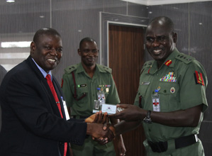The Chief of Army Staff (COAS), Lt. General Tukur Buratai with Acting Director General of NIMASA, Mr. Haruna Baba Jauro at the Army Headquarters