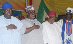(L-R): Lagos State Governor, Mr. Akinwunmi Ambode, with Speaker, Lagos State House of Assembly, Rt. Hon. Mudashir Obasa, State Chairman, All Progressives Congress (APC), Otunba Henry Ajomale and Oba of Lagos, Oba Rilwan Akiolu I, during the Swearing-in ceremony of Commissioner and Special Advisers, at the Adeyemi Bero Auditorium, the Secretariat, Alausa, Ikeja, on Monday, October19, 2015.